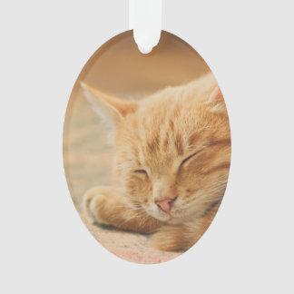 Sleeping Orange Tabby Cat Ornament