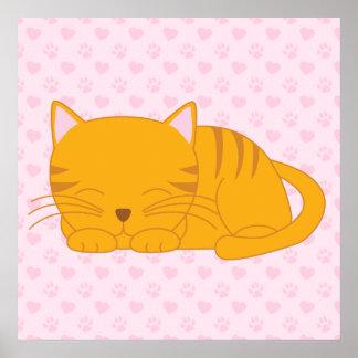 Sleeping Orange Tabby Cat Poster