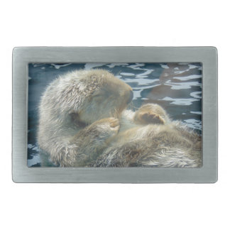 Sleeping Otter Rectangular Belt Buckles