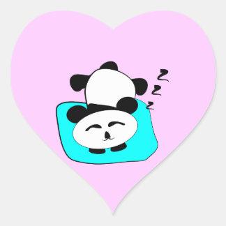 Sleeping Panda Heart Sticker