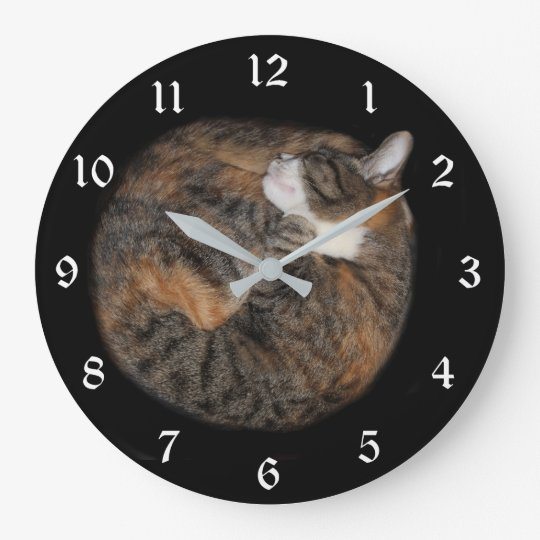 Sleeping patched tabby large clock