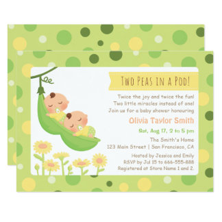 Sleeping Peas in a Pod Twin Baby Shower Invites