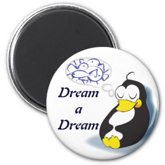 sleeping penguin dreaming about fish magnet