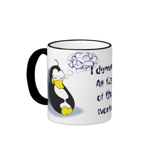 sleeping penguin dreaming about fish tea cup ringer mug