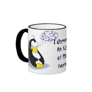 sleeping penguin dreaming about fish tea cup mugs