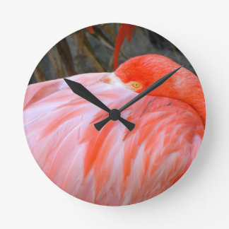Sleeping Pink Flamingo Clock