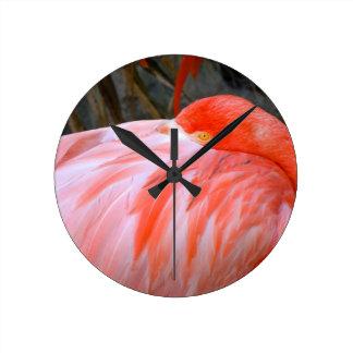 Sleeping Pink Flamingo Round Clock