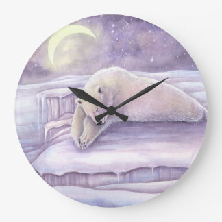 Sleeping Polar Bear Fantasy Wildlife Snuggly Bears Large Clock
