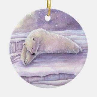 Sleeping Polar Bear Wildlife Fantasy Art Ceramic Ornament