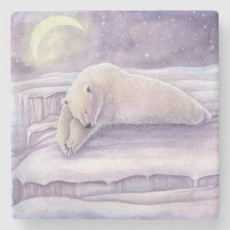 Sleeping Polar Bear Winter Scene Moon Art Stone Coaster