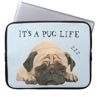 Sleeping Pug Illustrated Laptop Sleeve