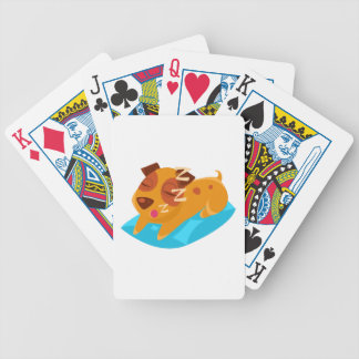 Sleeping Puppy On Blue Pillow Bicycle Playing Cards
