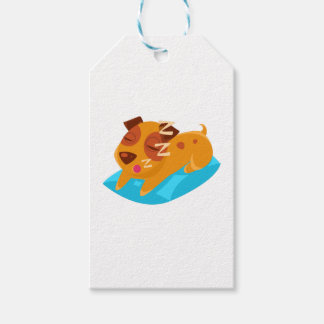 Sleeping Puppy On Blue Pillow Gift Tags