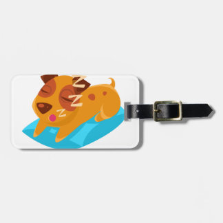 Sleeping Puppy On Blue Pillow Luggage Tag