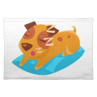 Sleeping Puppy On Blue Pillow Placemat