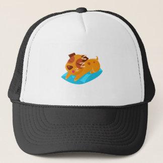 Sleeping Puppy On Blue Pillow Trucker Hat