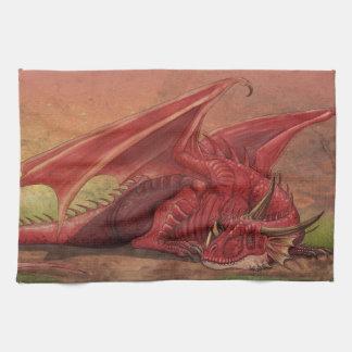 Sleeping red dragon kitchen towel