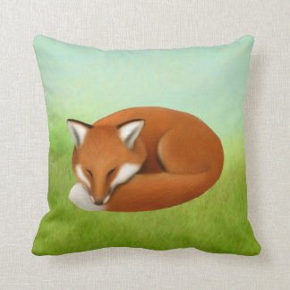 Sleeping Red Fox Throw Pillow