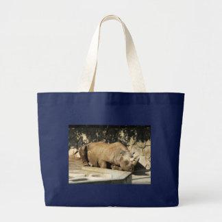 Sleeping Rhino Large Tote Bag