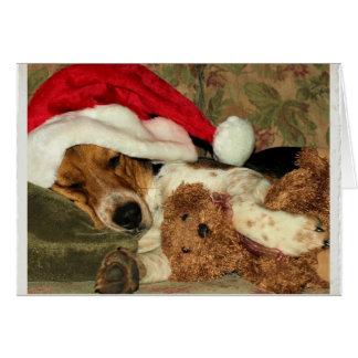 Sleeping Santa Beagle Dog Snoopy - Thank You Card