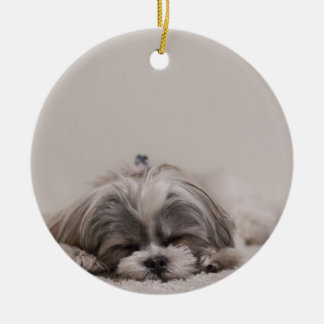 Sleeping Shih tzu Christmas Ornament, Sleeping Dog Ceramic Ornament