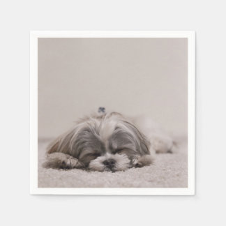 Sleeping Shih tzu Cocktail Napkins, Sleeping Dog Napkin