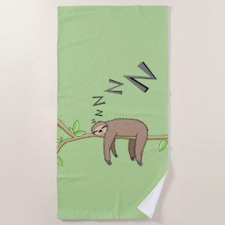 Sleeping sloth beach towel