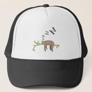 Sleeping sloth trucker hat