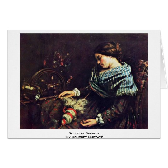 Sleeping Spinner By Courbet Gustave Card