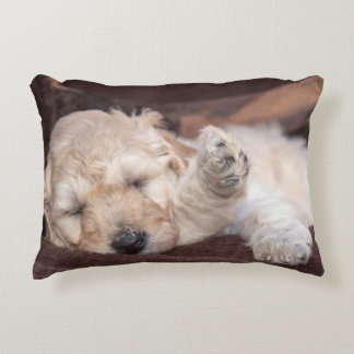 Sleeping Standard Poodle puppy Decorative Pillow