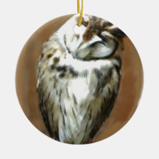 Sleeping Striped owl Round Ceramic Ornament