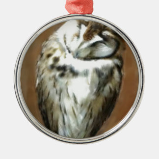 Sleeping Striped owl Silver-Colored Round Ornament