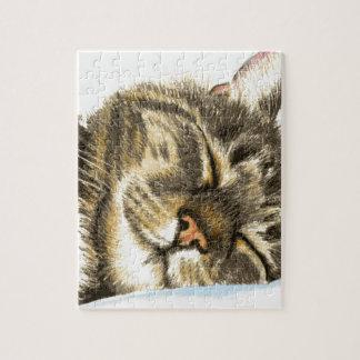 Sleeping tabby cat jigsaw puzzle