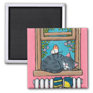 Sleeping Tabby Cat with Butterfly on Window Sill Square Magnet