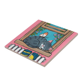 Sleeping Tabby Cat with Butterfly on Window Sill Tile