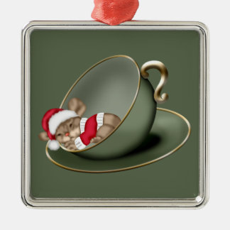 Sleeping Tea Cup Mouse Metal Ornament