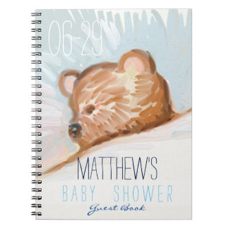 Sleeping Teddy Bear Baby Shower Guest Book