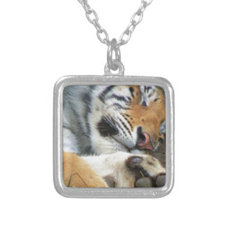 Sleeping Tiger Silver Plated Necklace