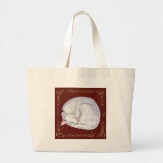 Sleeping Treasure White Cat Large Tote Bag
