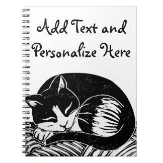 Sleeping Tuxedo Cat Custom Notebook