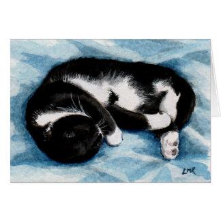 Sleeping Tuxedo Cat Paiting Note Card