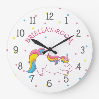 Sleeping unicorn bedroom clock with name