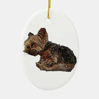 Sleeping Yorkie Ceramic Ornament