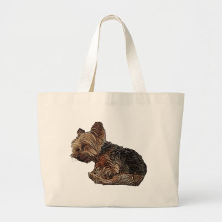 Sleeping Yorkie Large Tote Bag