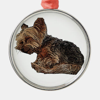 Sleeping Yorkie Metal Ornament