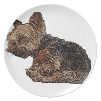 Sleeping Yorkie Plate