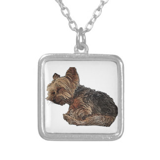 Sleeping Yorkie Silver Plated Necklace