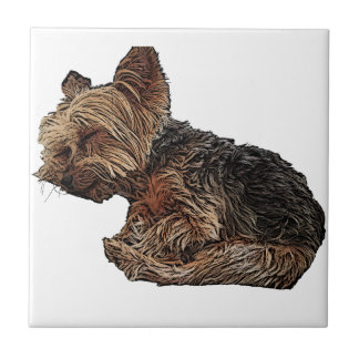 Sleeping Yorkie Tile