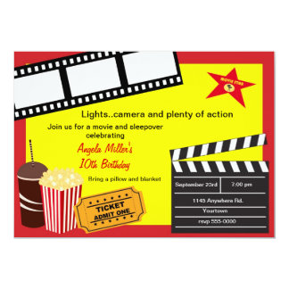 "Sleepover and Movie Night Birthday 5"" X 7"" Invitation Card"
