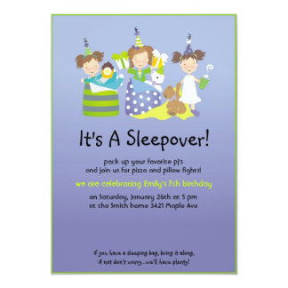 "Sleepover and pillow fights 5"" x 7"" invitation card"